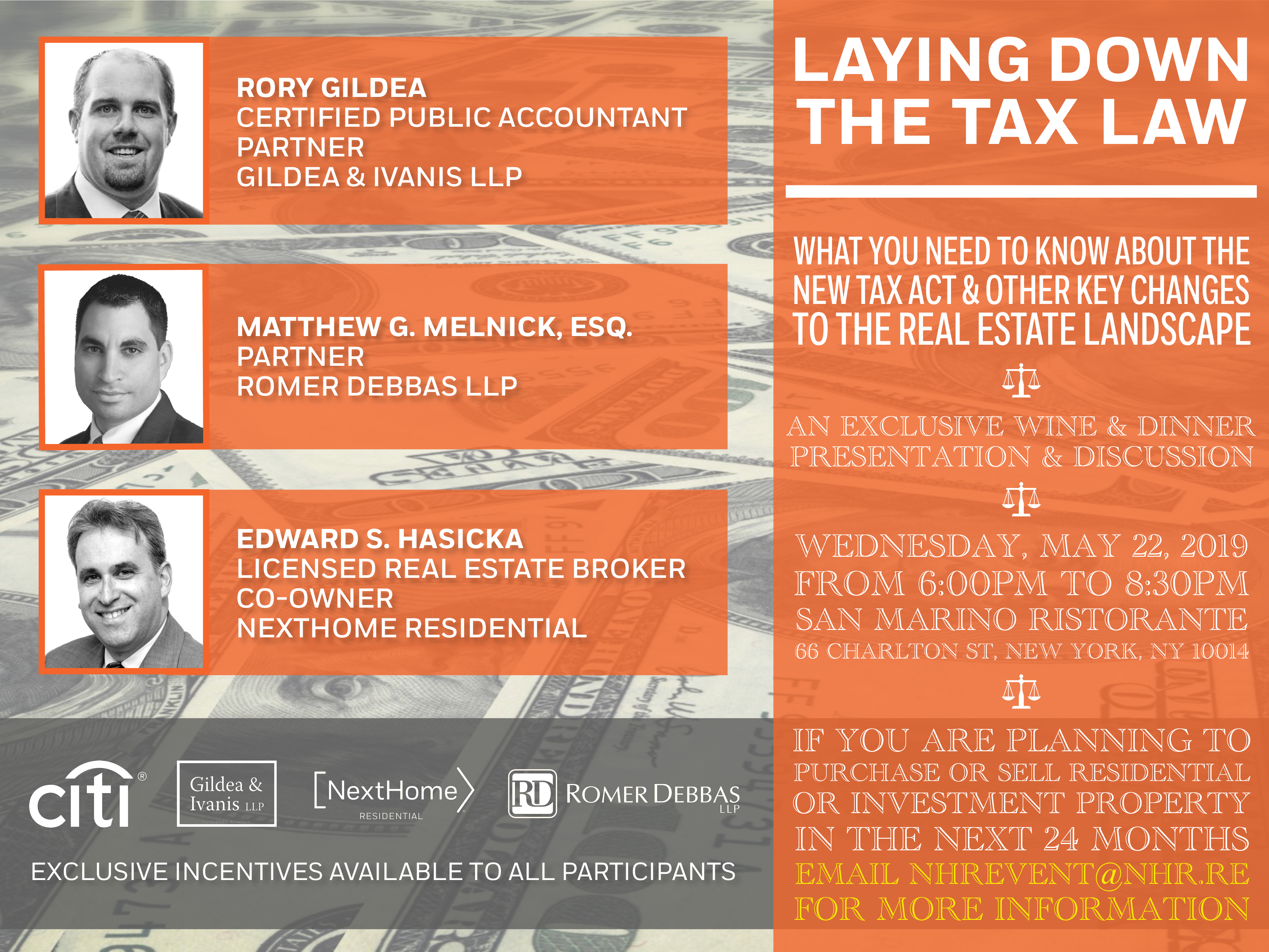 Laying Down the Tax Law Event | May 22, 2019 at San Marino Ristorante, NextHome Residential | New York Licensed Real Estate Broker